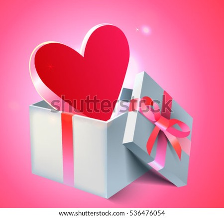 Lovely St.Valentine Day pink background with red heart in a gift box. Vector illustration. 3D realistic style. Fully editable