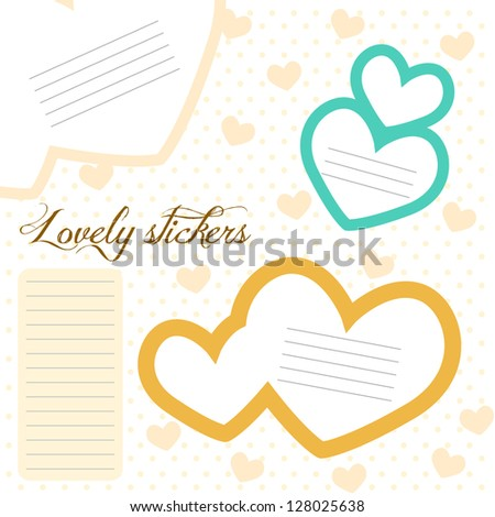 Lovely stickers - stock vector