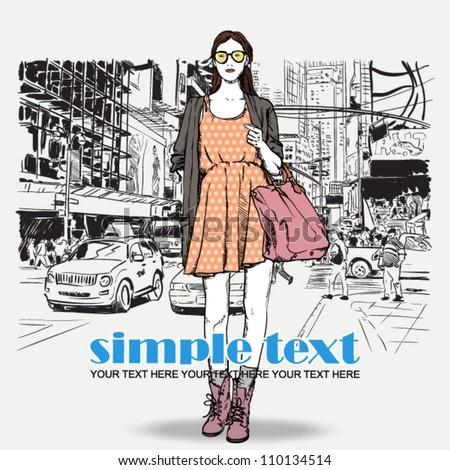 Lovely summer girl on a street background. Vector illustration - stock vector