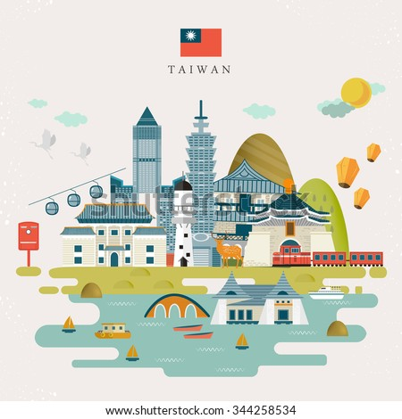 lovely Taiwan travel map design in flat style - stock vector