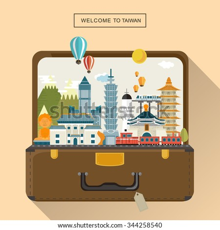 lovely Taiwan travel poster design - attractions in luggage  - stock vector