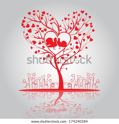 Lovely tree of hearts with doves and flowers - stock vector