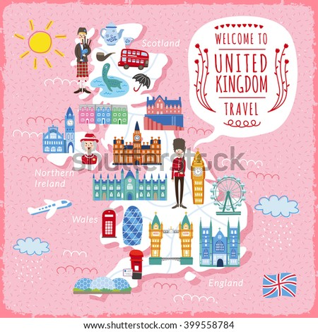 lovely United Kingdom travel map design with attractions - stock vector