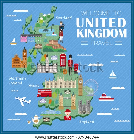 lovely United Kingdom travel map with attractions  - stock vector