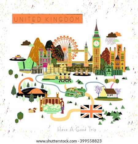 lovely United Kingdom travel poster design with attractions