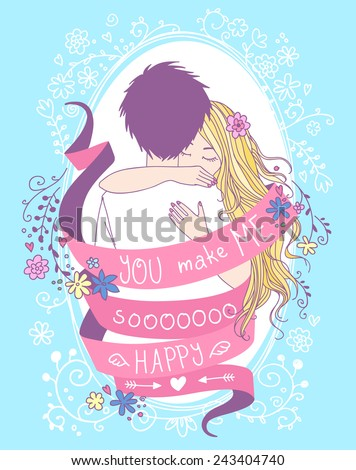 "Lovely Valentine's Day greeting card. Portrait of hugging young couple wrapped by red ribbon with words ""You make me so happy"", floral elements and decorative frame on the background.  - stock vector"