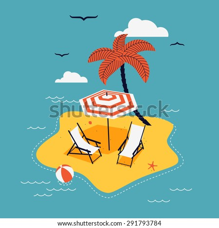 Lovely vector abstract island paradise with palm, chaise lounge and parasol umbrella sunshade - stock vector