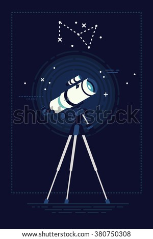 Lovely vector background on astronomy with telescope on night sky with constellation on background. Celestial bodies, constellations and Solar system observation equipment optical telescope - stock vector