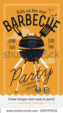 Lovely vector barbecue party invitation design template | Trendy BBQ cookout poster design with classic charcoal grill, fork, cooking paddle and sample text - stock vector