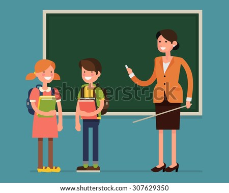 Lovely vector character flat design on primary or elementary school children students little boy and girl kids with female teacher standing full length smiling holding books and wearing backpacks - stock vector