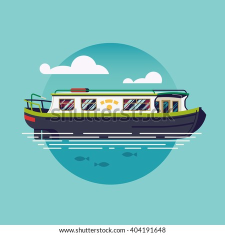 Lovely vector flat design narrowboat round icon. British canal boat water recreational transport illustration. River barge based leisure and recreation cruising transport narrow boat. River houseboat - stock vector