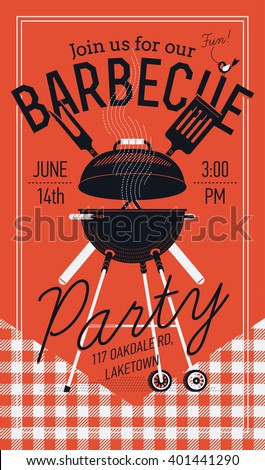 Lovely vector flyer or poster template on barbecue party. Barbecue cookout event. Spring or summer barbecue weekend celebration poster with red checkered tablecloth, cooking grill, paddle and fork - stock vector