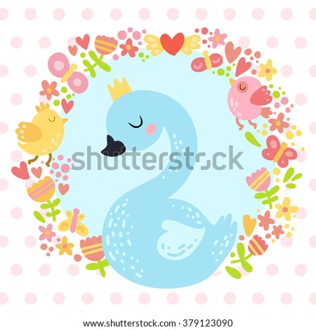 Lovely vector illustration of a cute swan wearing a crown surrounded by circular detailed wreath of birds, flowers, hearts and butterflies on dotted background. - stock vector
