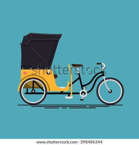 Lovely vector illustration on velotaxi. Pedicab flat design icon. Bike taxi cycle rickshaw isolated. Human powered local city transport vehicle bikecab - stock vector