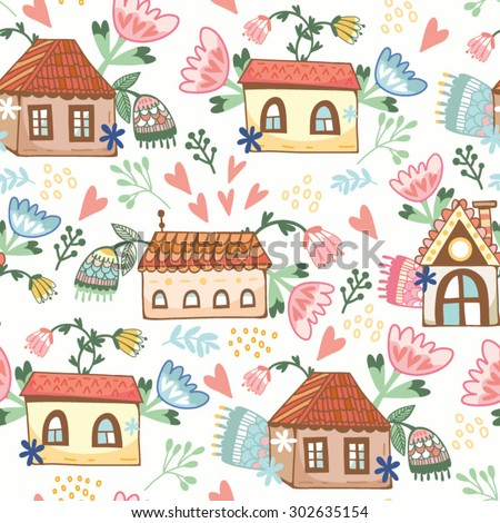 "Lovely vector pattern ""Home sweet home"". - stock vector"