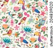 Lovely vector pattern of birds and flowers. Endless background. Ethnic seamless pattern. Vector backdrop. Gentle pattern. Summer template. Use for wallpaper, web page background and other things. - stock vector