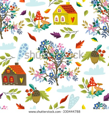 Lovely vector seamless pattern of houses, trees, wind, leaves, mushrooms and acorns in bright flat style, Perfect autumn background.