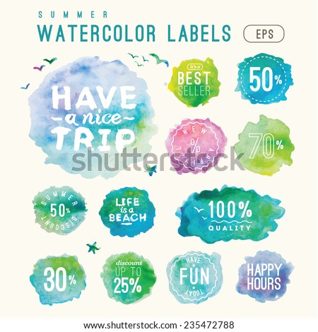 lovely vector set of watercolor shopping icons in eps  - stock vector