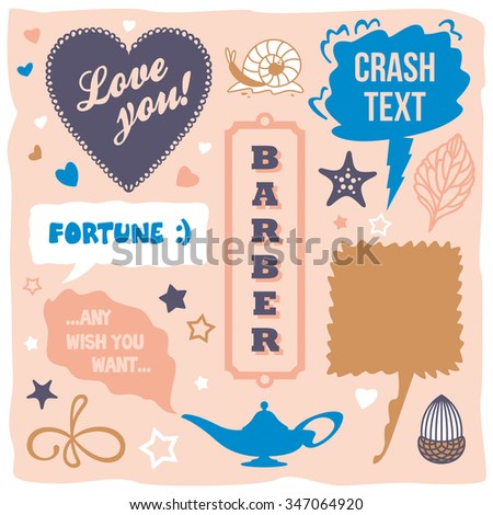 lovely vector speech bubbles design clouds with short phrases - stock vector