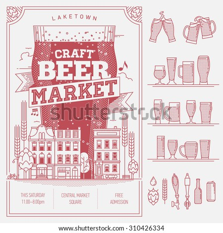 Lovely vector wall art or advertisement poster for craft beer market or local brewery shop with additional decorative design elements. Clink beer mugs and glasses, bar taps, bottle and can  - stock vector