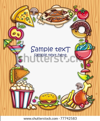Lovely vertical composition on wooden background with space for your text, surrounded by colorful food icons - stock vector