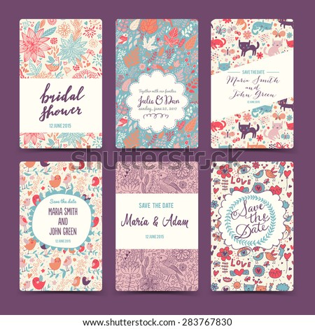 Lovely wedding romantic collection with 6 awesome cards made of hearts, flowers, wreaths, cats, butterflies and birds. Graphic set in retro style. Sweet save the date invitation cards in vector.