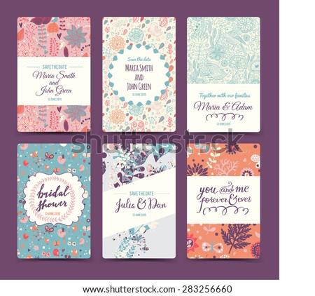 Lovely wedding romantic collection with 6 awesome cards made of hearts, flowers, wreaths, laurel, butterflies and birds. Graphic set in retro style. Sweet save the date invitation cards in vector. - stock vector