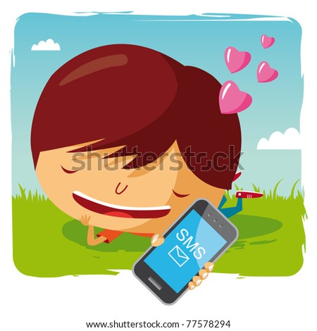 lover boy lying in the grass with his mobile phone - sms - stock vector