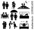 Lover Couple Boyfriend Girlfriend Sweetheart Relationship Activity Stick Figure Pictogram Icon - stock photo