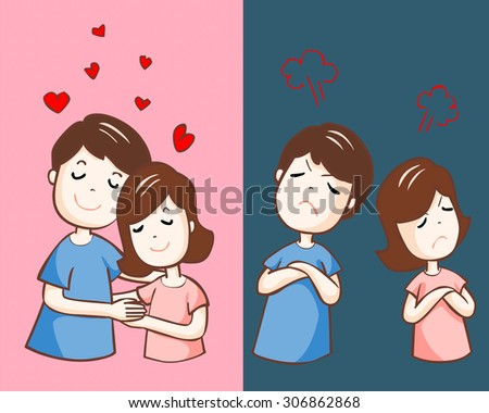 lover hate and love each other vector illustration - stock vector