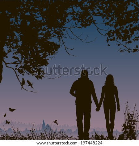 lovers at night, romantic nature background - stock vector