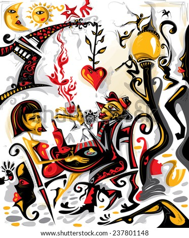 Lovers Cafe (Vector Art) - stock vector