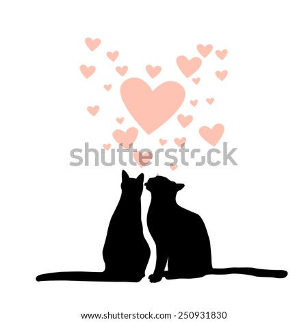 Lovers cats silhouette. Vector - stock vector