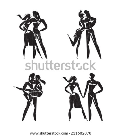Lovers. Icons. Vector format - stock vector