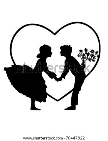 Lovers In Heart Silhouette - Retro Clipart Illustration