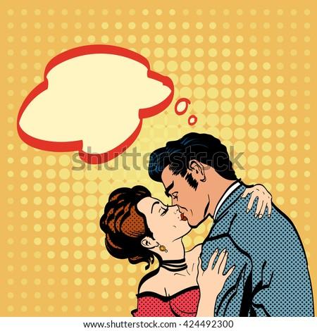 Lovers kissing man kisses woman romantic hug retro style pop art vector - stock vector