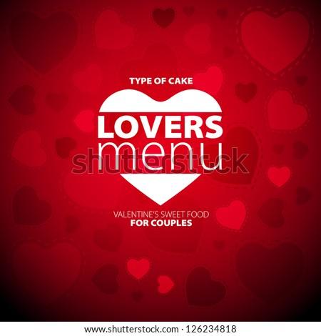 Lovers Menu Card Design template - stock vector