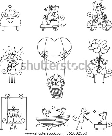 Lovers mouse set 2 - stock vector