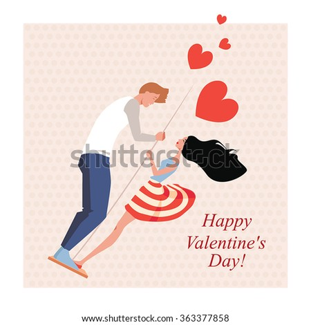 Lovers on a swing, greeting card for Valentine's Day in a cartoon style - stock vector