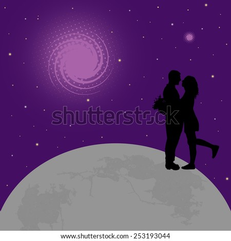 Lovers on globe earth on abstract lila background, vector illustration  - stock vector