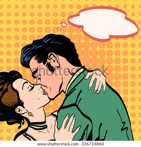 Lovers passionate kiss of a man hugging woman love story retro style pop art - stock vector