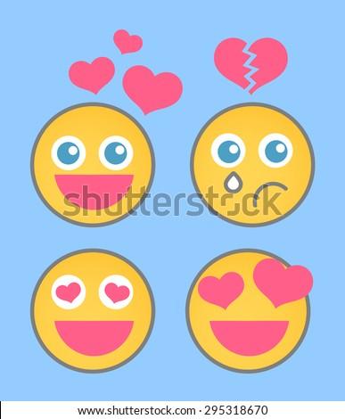 Lovestruck Smiley Set - stock vector