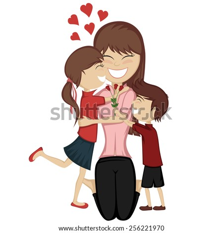 Lovin' mommy collection - A cute brunette girl and boy surprise their mom. - stock vector