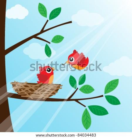 Loving bird feeding - stock vector