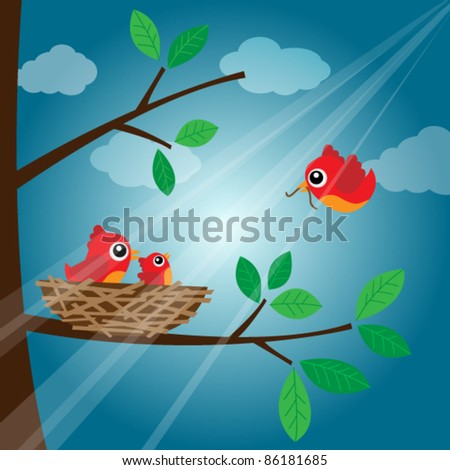 Loving bird feeding in the evening - stock vector
