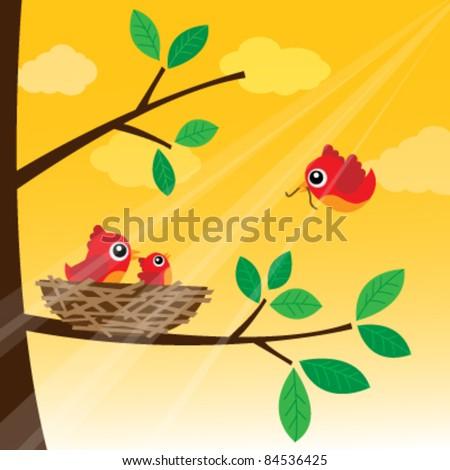 Loving bird feeding in the morning - stock vector