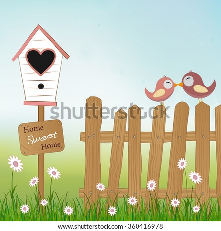 loving birds sitting on wooden fence with birds house and plate Home Sweet Home - stock vector