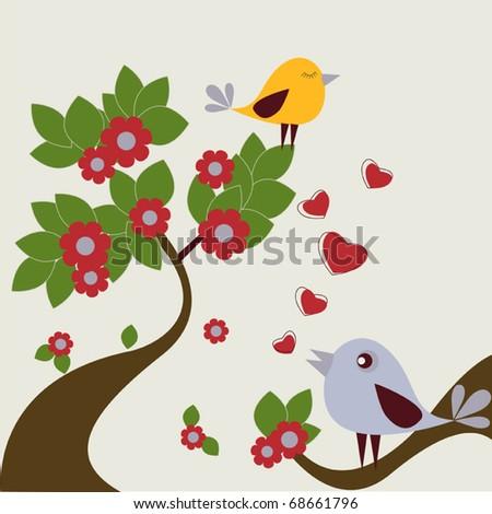 Loving birds - st. Valentine's greeting card background - stock vector