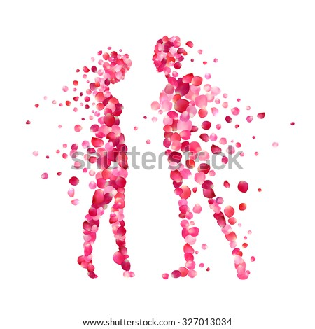 loving couple silhouettes of rose petals. Valentine's Day illustration - stock vector