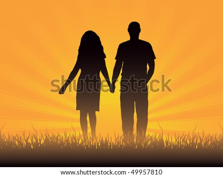 Loving couple. Vector illustration - stock vector
